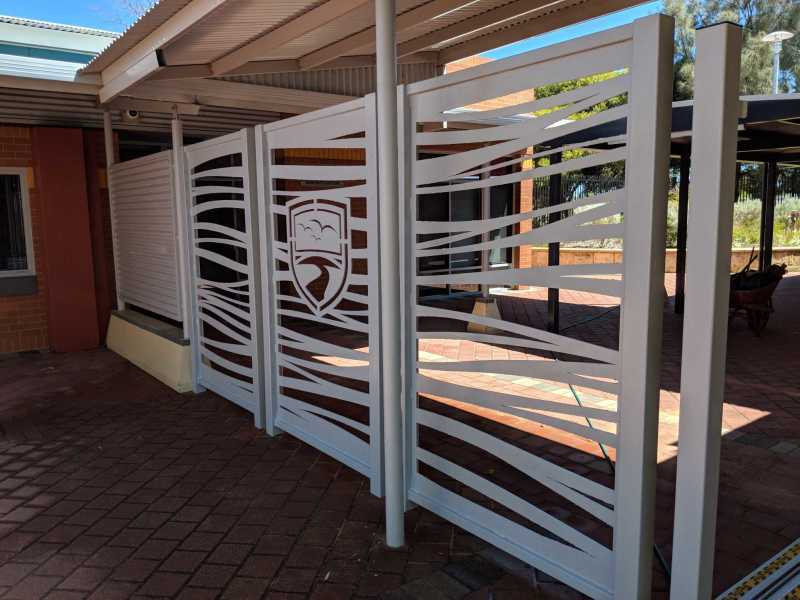 Customized commercial metal gate with company logo