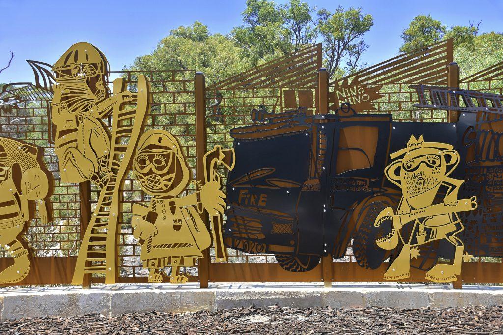 Customized metal art at Kensington Career Fire Station
